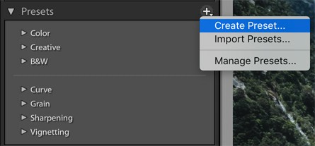 Lightroom create presets