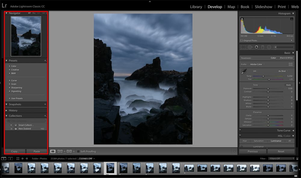 Adobe Lightroom Classic CC Develop Module Left menu