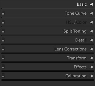 Adobe Lightroom Classic CC Develop Right Menu Closed