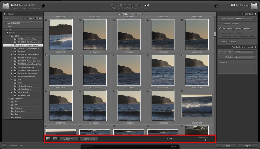 Lightroom Classic CC import Dialog