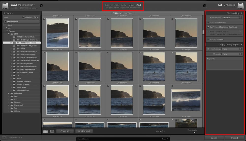 Adobe Lightroom Classic CC Import Dialog Top