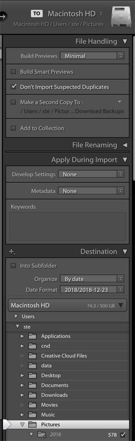 Lightroom Import Right Menu