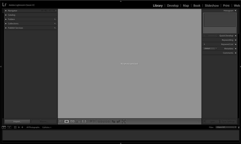Opening Adobe Lightroom Classic CC