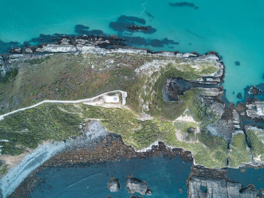 Aerial shot of Nugget Point Lighthouse