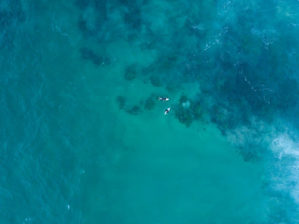 Drone photo of surfers from above