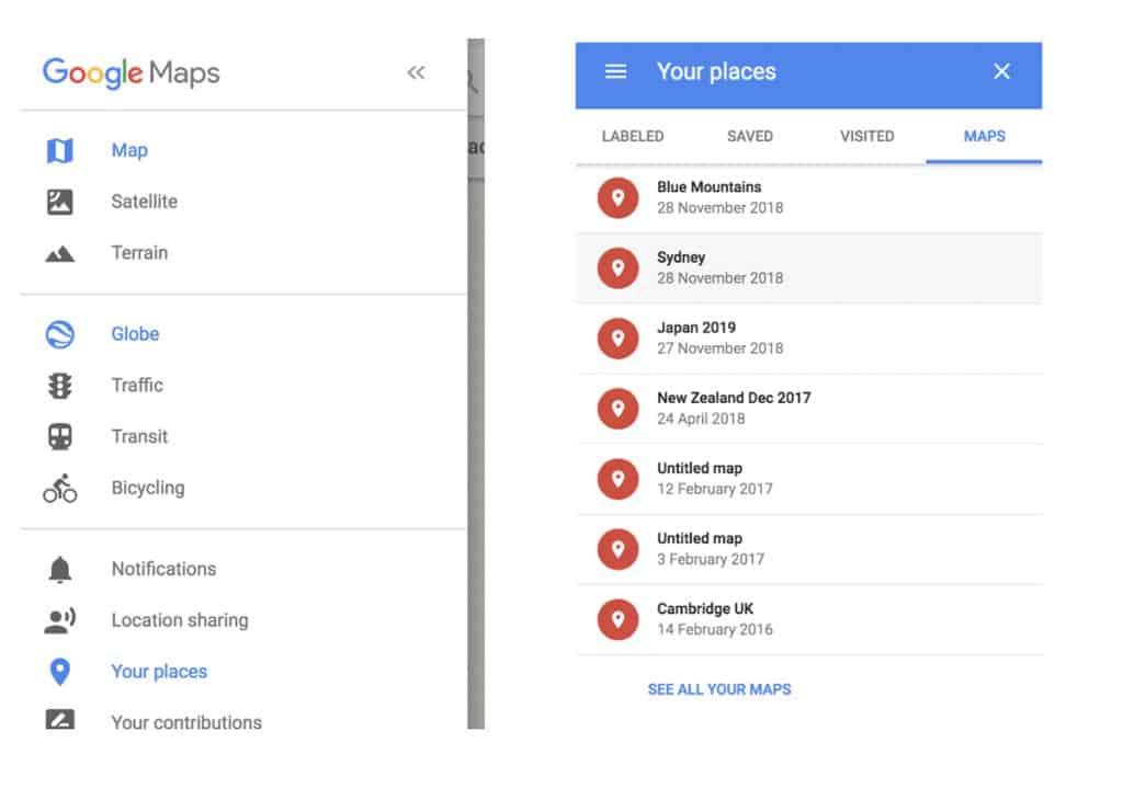 Google Maps Menu | Plan your photography trip
