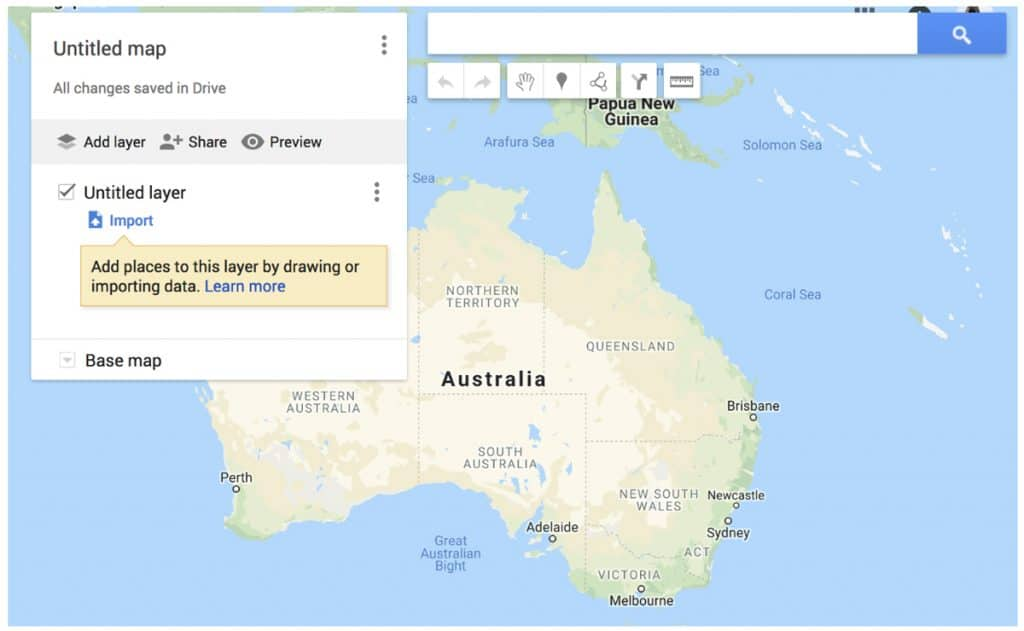 Create New Map | Plan your photography trip using google maps