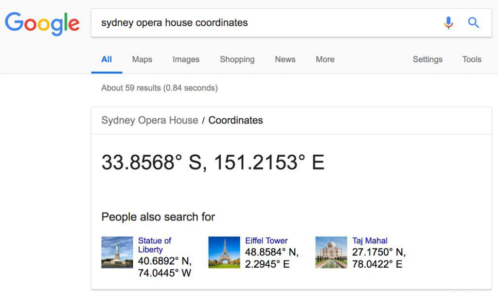 Search for coordinates in Google