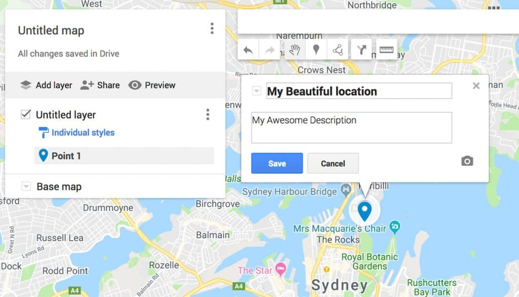 Edit location name on map | Plan your photography trip