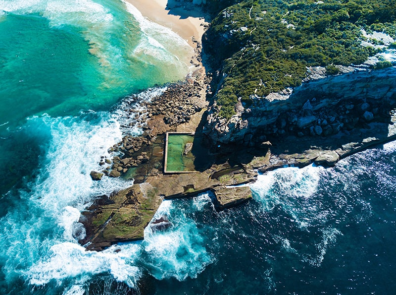 Aerial Photo of North Curl Curl rock pool