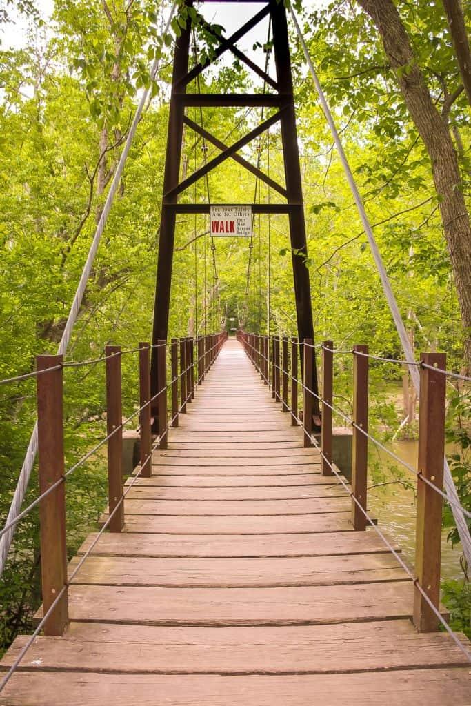vertical image of a walking wooden bridge