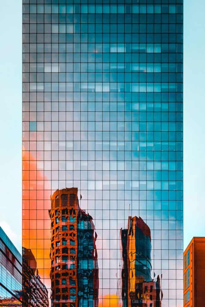 building at dusk