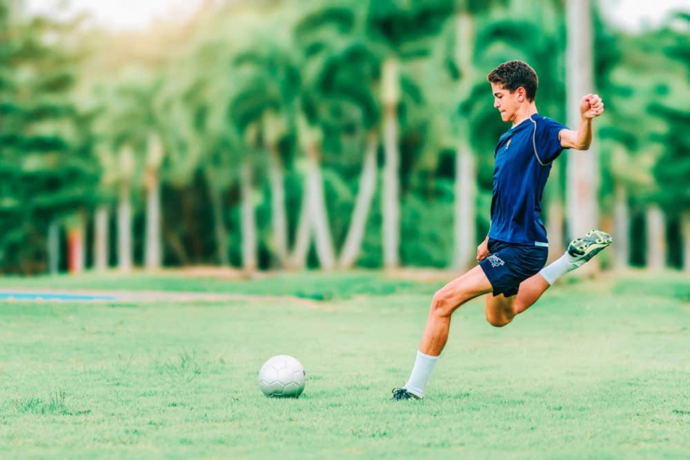 soccer player with blurred background