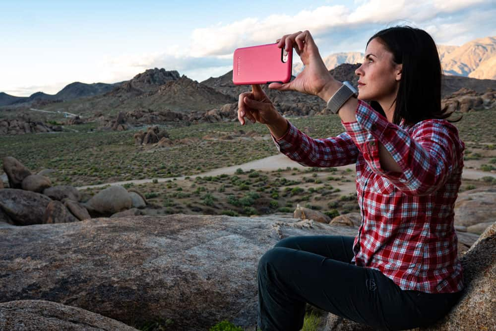 Woman trying different angles for a selfie