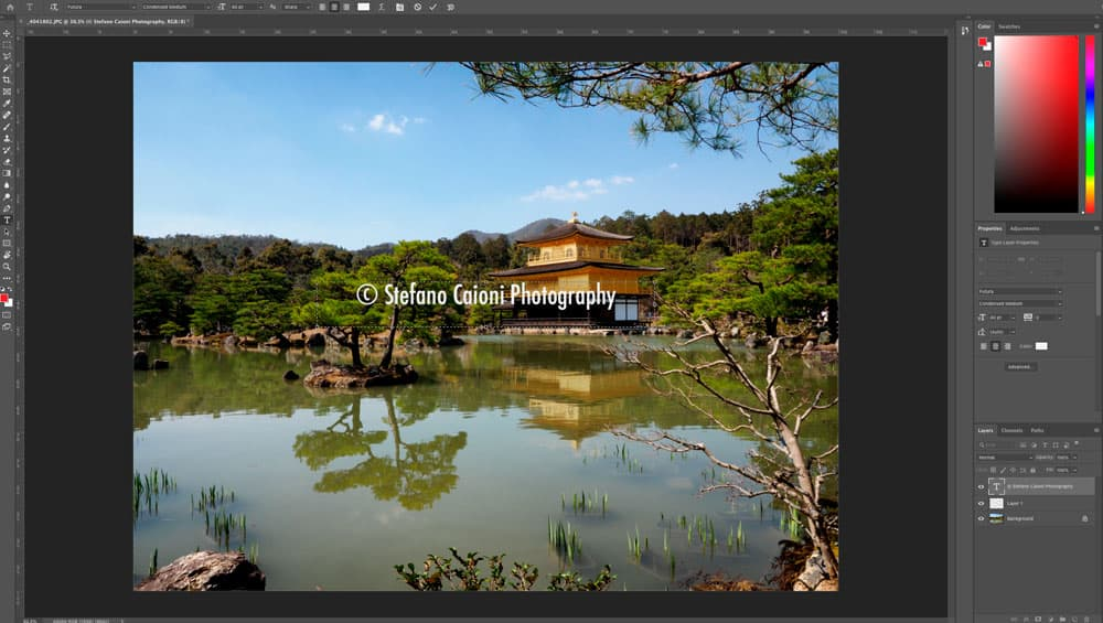 Placing Your Text Watermark on the image