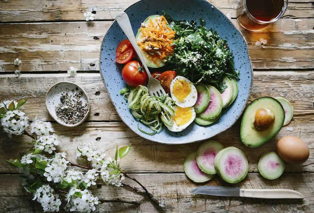 Flat lay photography bowl of eggs avocado and veggies