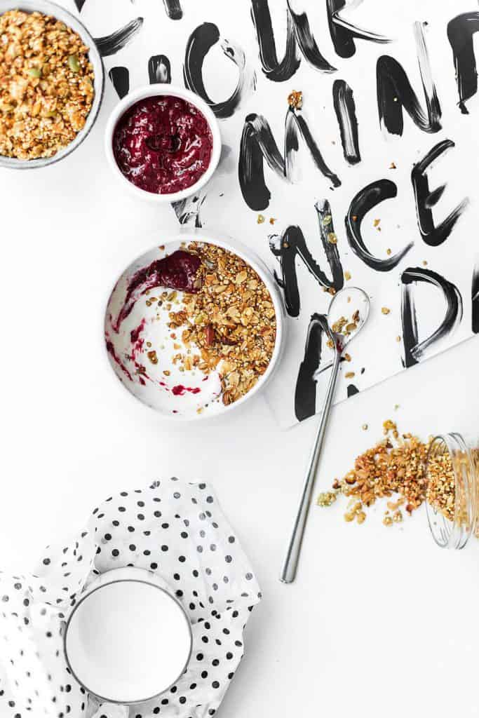 Flat lay photography cereals