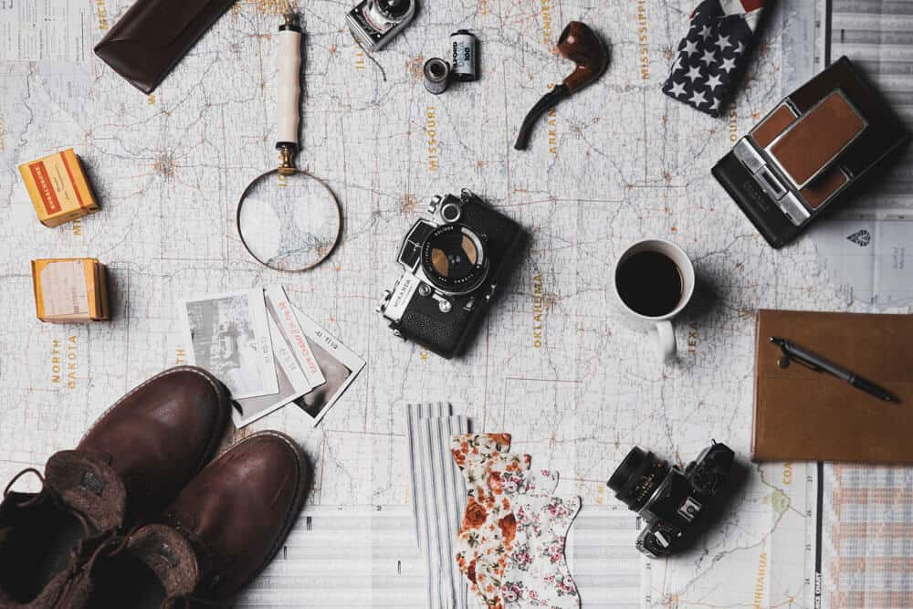 Flat lay photography camera and map