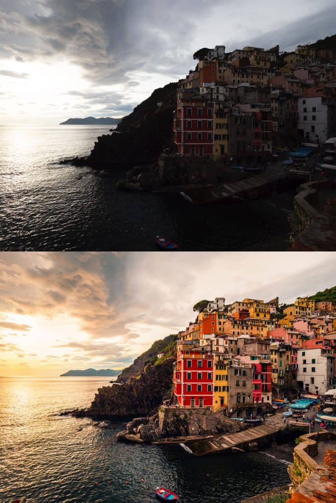 cinque terre landscape photo edited in lightroom before and after