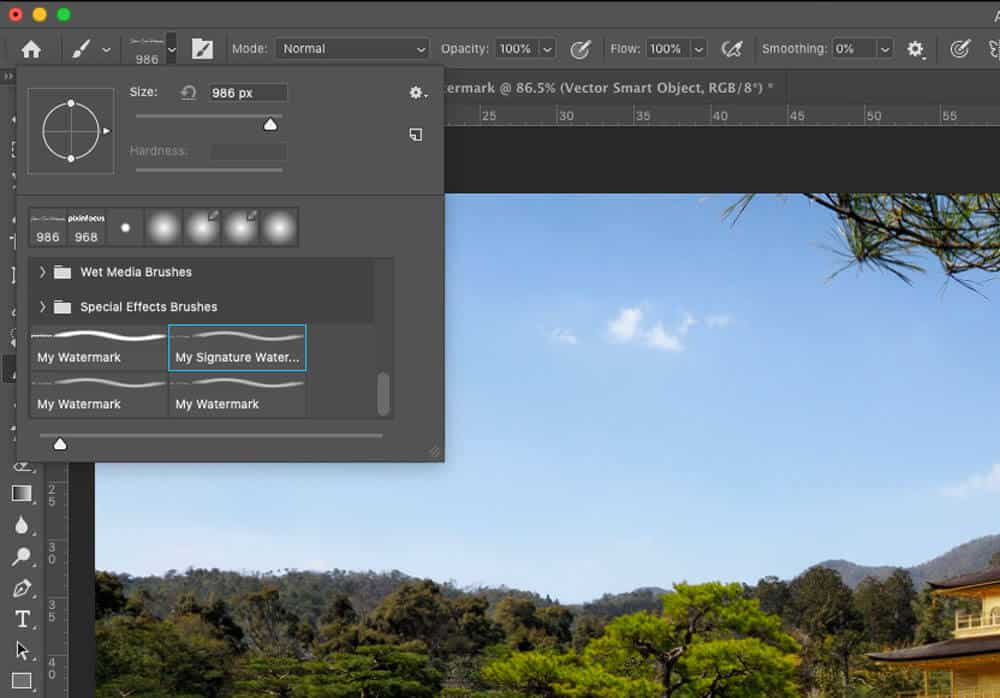 brush settings How to create a watermark in Photoshop