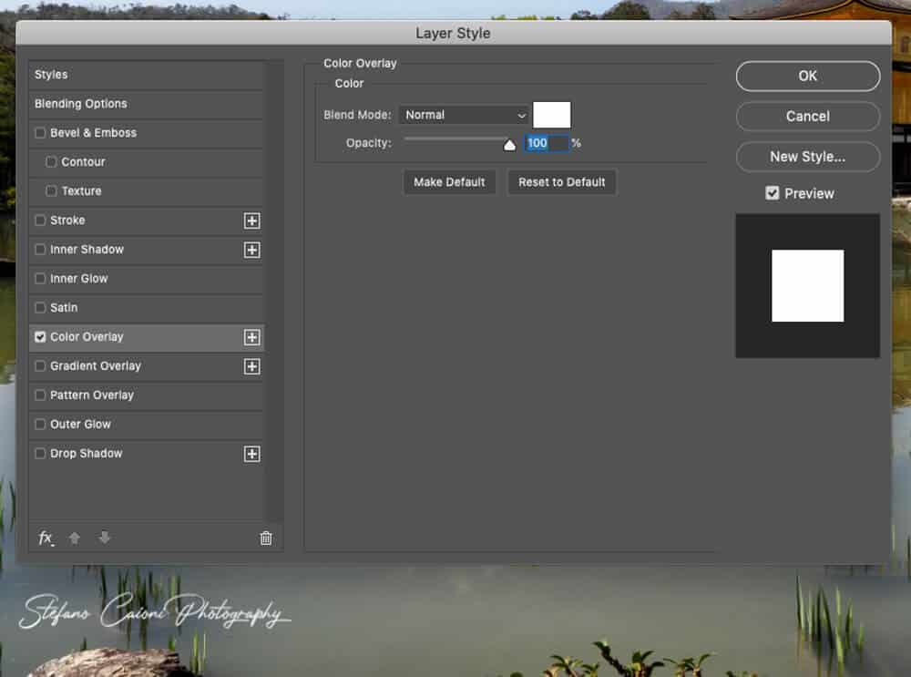 color overlay How to create a watermark in Photoshop
