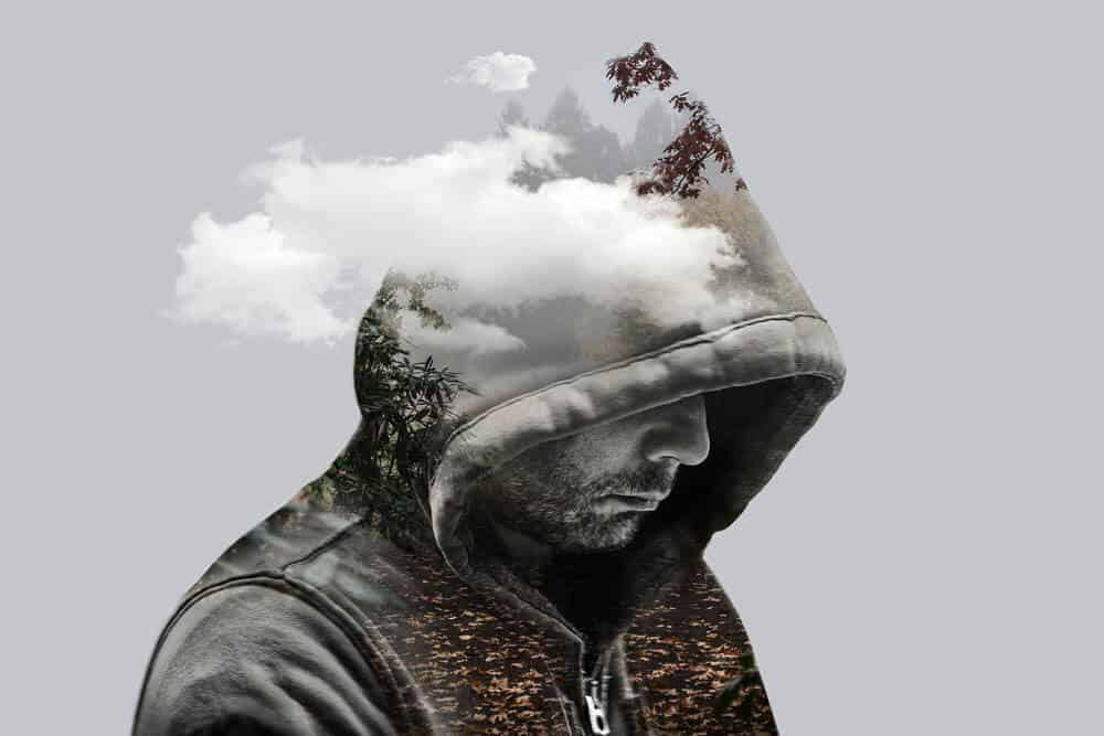 Double Exposure Photography man with hoodie