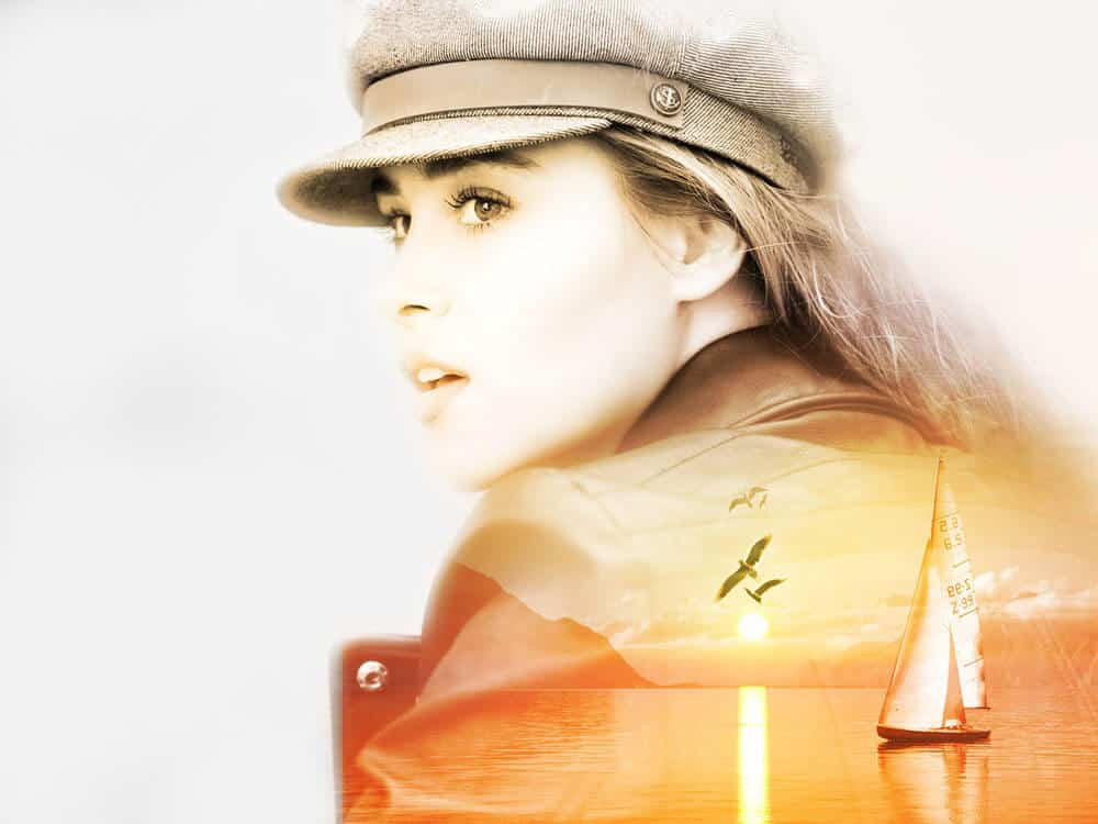 Double Exposure Photography girl with hat