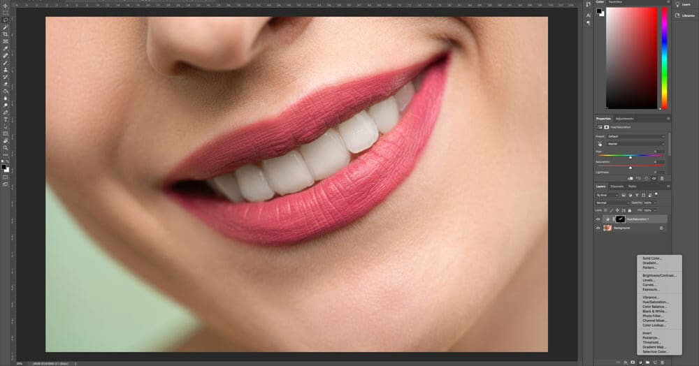 how to whiten teeth in photoshop adjustment layer