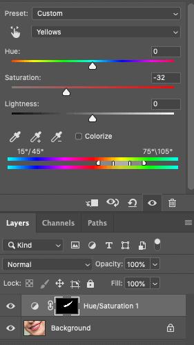 Saturation adjustment layer