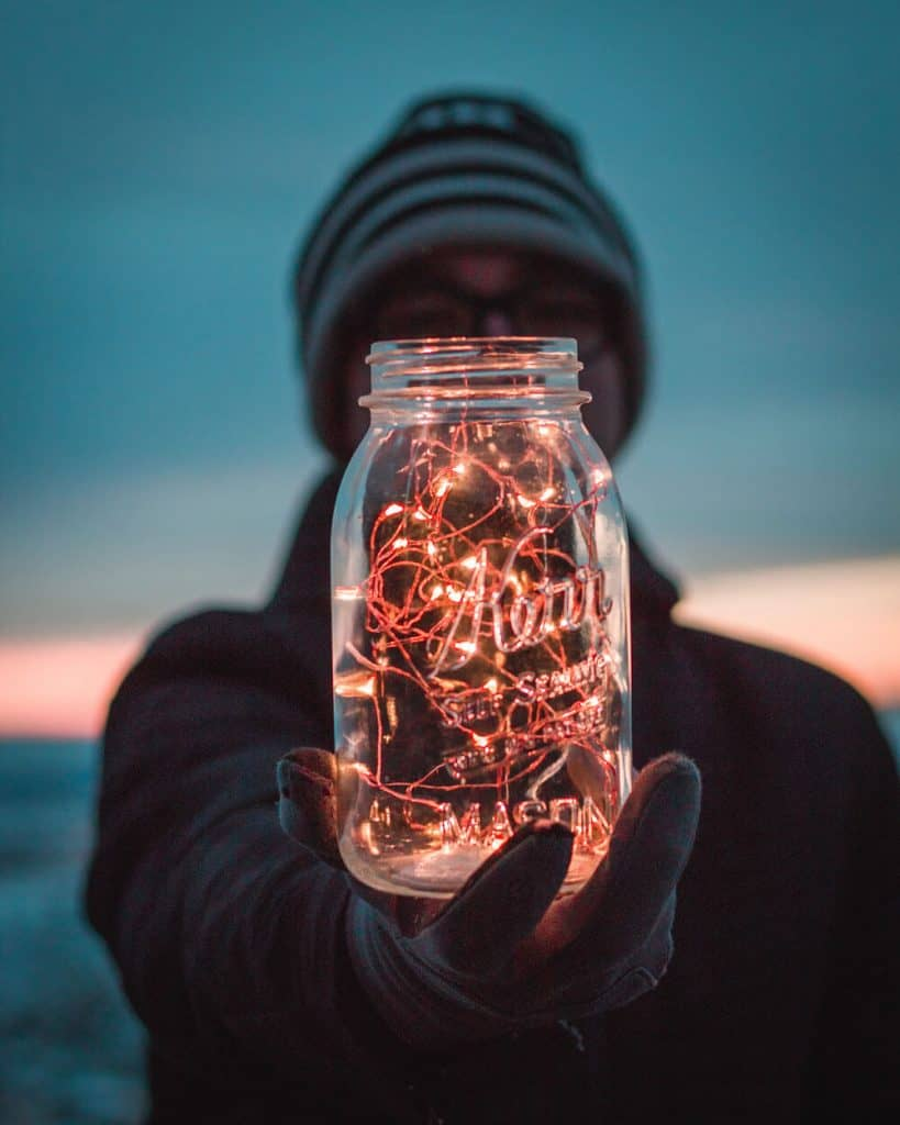 string lights in a glass container