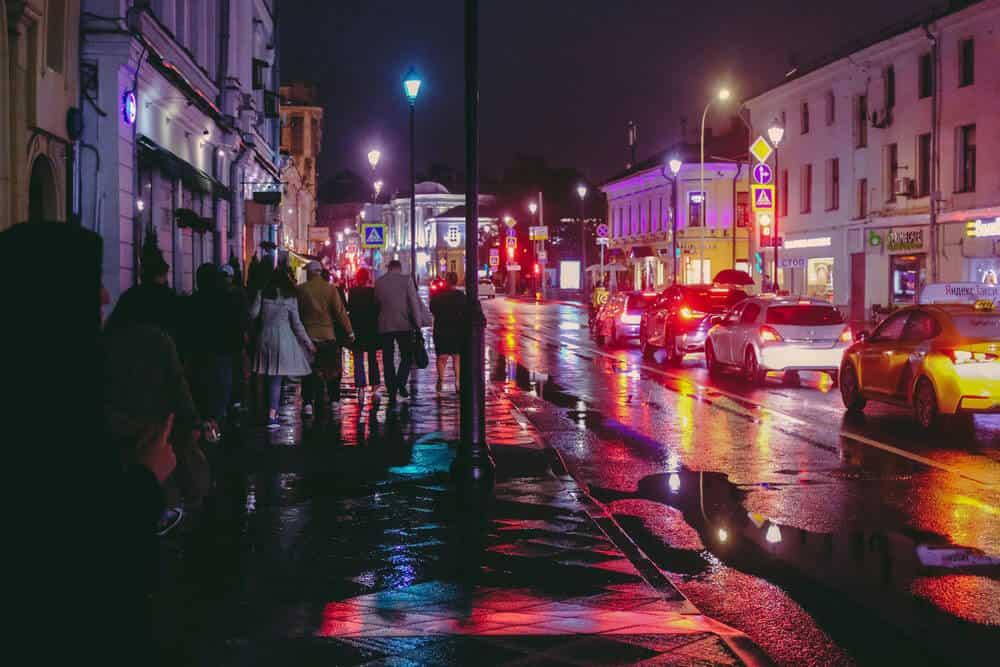 rain and reflections at night