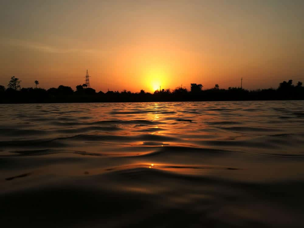 sunset with water