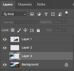 Layer panel with hidden layers