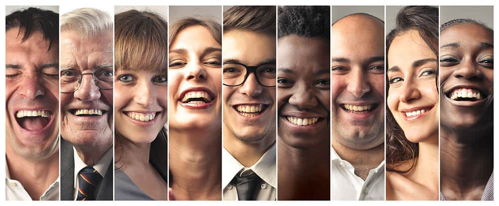 people with different teeth shades