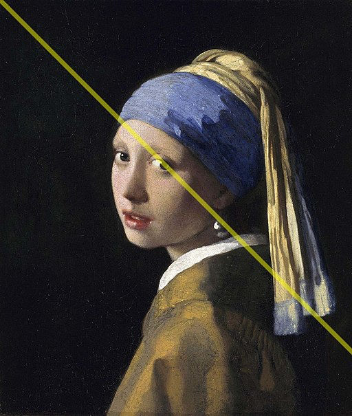 Diagonal Line on Girl with Pearl Earring