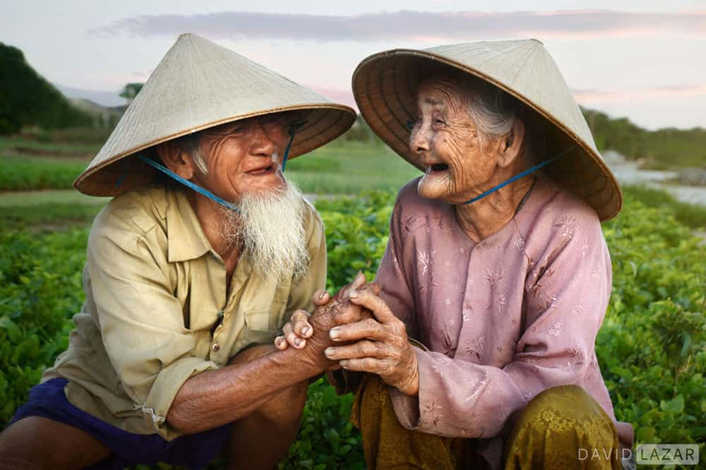 old japanese farmers smiling